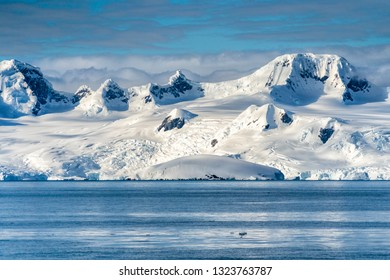 Antarctica mountains and sea