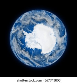 Antarctica on blue planet Earth isolated on black background. Highly detailed planet surface. Elements of this image furnished by NASA.