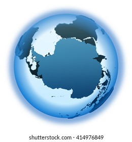 Antarctica on translucent model of planet Earth with visible continents blue shaded countries. 3D illustration isolated on white background.