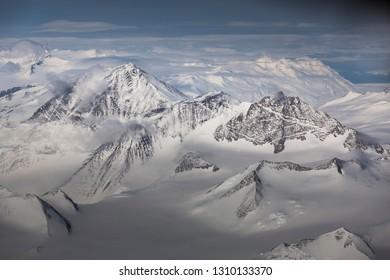 Antarctica's Transantarctic mountains as seen from the air