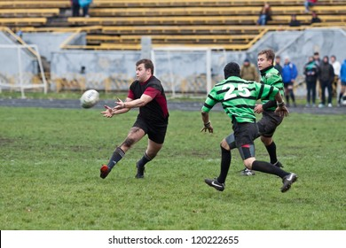 ANTARES - EGER, UKRAINE, KIEV- NOVEMBER 4 : Rugby players in action at a Ukrainian National Championship Final rugby match, Antares(in green) vs. Eger(in black), November 4, 2012 in Kiev, Ukraine.