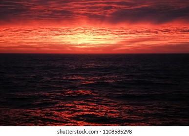 Antartic sunset landscape, south pole