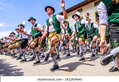 Antdorf - Germany, May, 30: world record with over 1300 participants in shoeplatteln (traditional bavarian dancing) in Antdorf on May 30, 2019