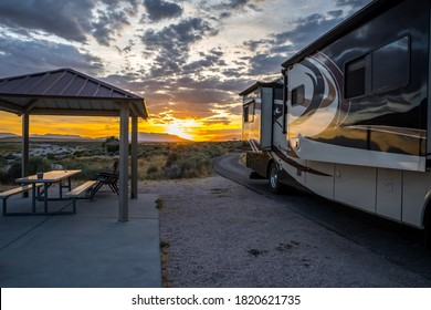 Antelope Island SP, UT, USA - August 3, 2019: Enjoying the captivated view from our RV