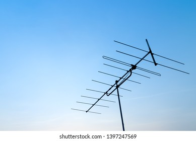 Antenna with blue sky. Close up antenna with copy space for design or text.