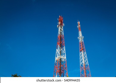Antenna of Communication Building on blue sky background.