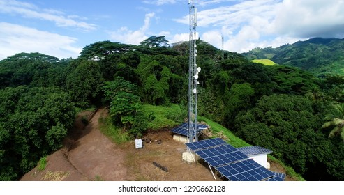antenna in the mountains for aerial view, french polynesia