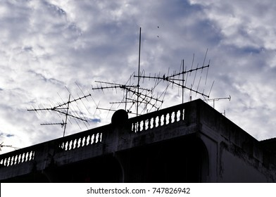 Antenna on Sky. Television antenna. TV antenna.