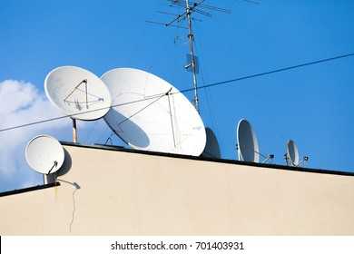 Antenna on Sky. Television antenna. white satellite antenna on the roof. TV antenna. horizontal