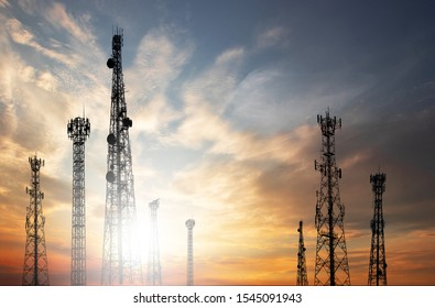 Antenna Telephone and communication towers have a sunset background. Can be used as a background.