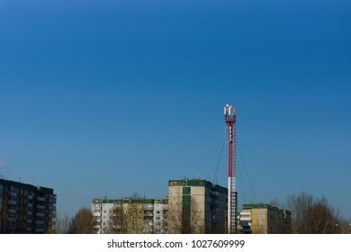 Antenna tower in the city. Space for text