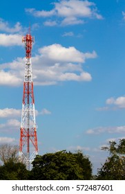 Antenna in tower for telecommunication with blue sky.
