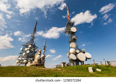 Antennas with numerous transmitters are on the mountain. The importance and impact of technology in human life. Paganella is a mountain of the Brenta Group in Trentino, Italy