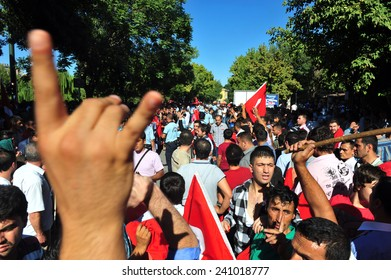 ANTEP - AUGUST 21: Nationalist groups protests against PKK terrorist organization on  August  21, 2012 in  Antep, Turkey.