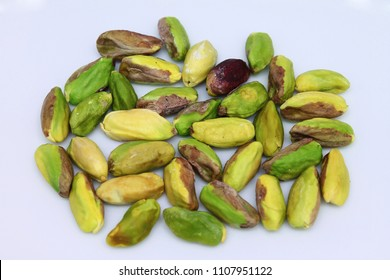 Antep fistigi is Turkish nuts. Pistachios isolated on white background.