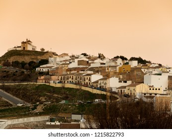 ANTEQUERA, MALAGA - JAN 19 : Sunset  this famous town, on January 19, 2018 in Antequera, Malaga province, Andalusia, Spain