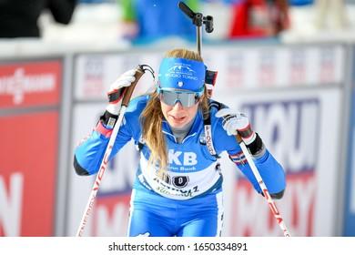 Anterselva (BZ), Italy, February 14 2020 carrara michela (ita) during IBU World Championship Biathlon 2020 - Women 7.5 Km Sprint Biathlon