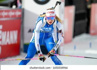 Anterselva (BZ), Italy, February 14 2020 minkkinen suvi (fin) during IBU World Championship Biathlon 2020 - Women 7.5 Km Sprint Biathlon