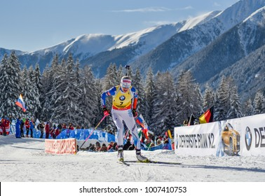 Anterselva/Antholz, Italy - JANUARY 18, 2018: Kaisa Makarainen of Finland competes in the sprint at the BMW IBU World Cup Biathlon 6