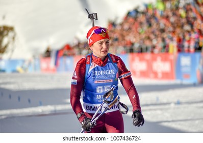 Anterselva/Antholz, Italy - JANUARY 18, 2018: Irina Uslugina of Russia competes in the sprint at the BMW IBU World Cup Biathlon 6