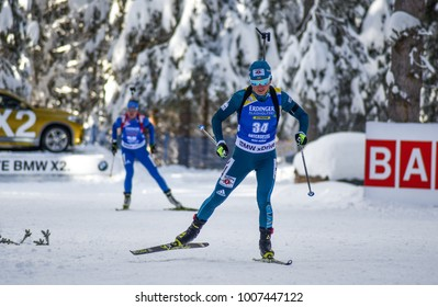 Anterselva/Antholz, Italy - JANUARY 18, 2018: Vita Semerenko of Ukraine competes in the sprint at the BMW IBU World Cup Biathlon 6
