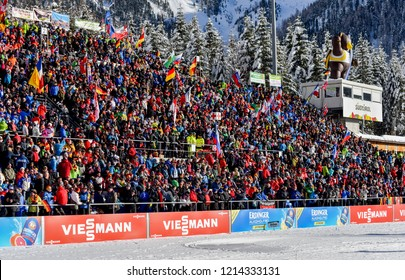Anterselva/Antholz, Italy - JANUARY 18, 2018: The main tribune of the biathlon stadium in Antholz/Anterselva