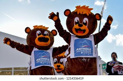 Anterselva/Antholz, Italy - JANUARY 18, 2018: Mascots of IBU Biathlon World Cup in Antholz/Anterselva