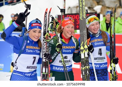 Anterselva/Antholz, Italy - JANUARY 20, 2018: Dorothea Wierer of Italy, Laura Dahlmeier of Germany and Daria Domracheva of Belarus compete in the pursuit at the BMW IBU World Cup Biathlon 6