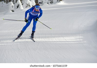 Anterselva/Antholz, Italy - JANUARY 20, 2018: Emily Dreissigacker of USA competes in the pursuit at the BMW IBU World Cup Biathlon 6