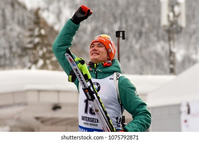 Anterselva/Antholz, Italy - JANUARY 21, 2018: Benedict Doll of Germany competes in the mass-start at the BMW IBU World Cup Biathlon 6