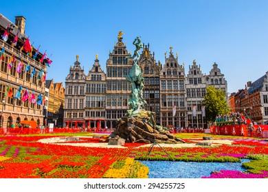 ANTEWERP, BELGIUM - JUN 5, 2015: City Hall on the main square in Antwerp, Belgium. Antwerp is the capital of Antwerp province and the most populous city in Belgium