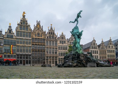 ANTEWERP, BELGIUM - JUNE, 2018: Fountain of Brabo in the old market square (Grote Markt). Antwerp is the capital of Antwerp province and the most populous city in Belgium.