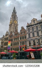 ANTEWERP, BELGIUM - JUNE, 2018: View to the Cathedral of Our Lady from Market square. Cityscape of Antwerp, the capital of Antwerp province in Flanders and most populous city proper in Belgium.