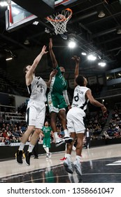 Anthony Hilliard of Le Portel and Miro Bilan and Theo Maledon of Lyon during French Championship Pro A Basketball between LDLC ASVEL and Le Portel Cote d'Opale 3/1/2019 Astroballe Villeurbanne France