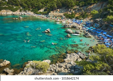Anthony Quinn Bay. The most beautiful beach at Rhodes island.