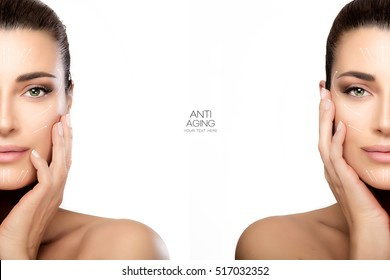 Anti aging treatment and plastic surgery concept with two half face portraits of a beautiful young woman with a flawless smooth complexion, isolated on white with copy space in middle. Template design