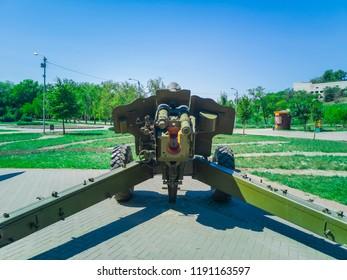 Anti aircraft gun turret in Victory Park, Zaporozhye, Ukraine, 23 August 2018.