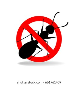 Anti ant (no ants) sign for insecticide. Raster version