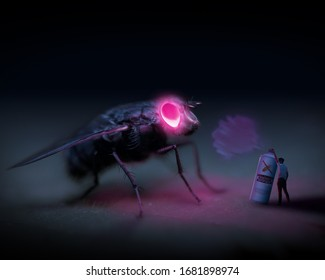Anti bug spray. No more bugs. Mythical beast. Spraying gas. Man defending himself against bug. Glowing eyes. Abstract photo of giant bug. Man vs nature. Pest control vs bugs.