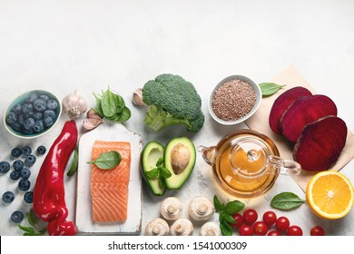 Anti cancer Food. Foods That Could Lower Your Risk of Cancer. Top view, flat lay with copy space