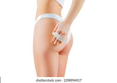 Anti cellulite treatment. Perfect female buttocks in underwear. Woman make anti cellulite massage