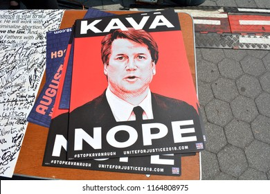 Anti Kavanaugh Sign Protesting Trump's Supreme Court Nominee in Foley Square, New York, NY, USA on August 26, 2018