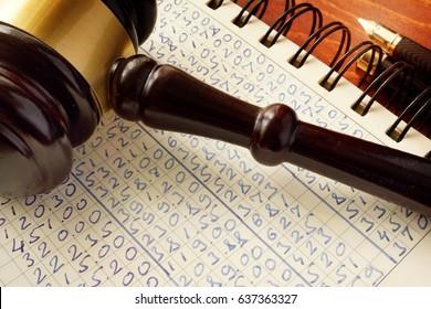 Anti money laundering (AML).  Gavel and accounting book. White collar crime.