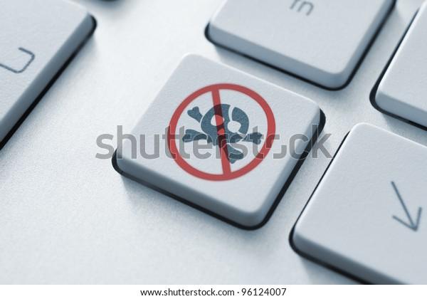 Anti piracy key on the keyboard. Toned Image.