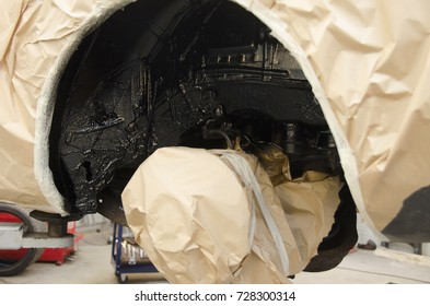 Anti rust protection of the car in the car repair shop.