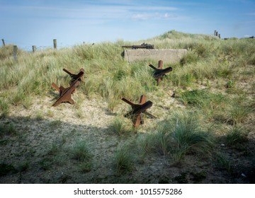 Anti tank defence obstacles on Utah Beach, Normandy, France