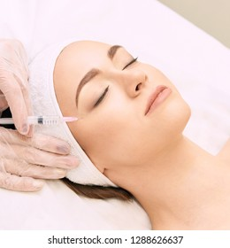 Anti wrinkle surgery. Beauty young woman injection. Facial treatment.