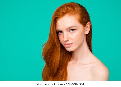 Anti-age concept. Profile side close-up portrait of cute nude sweet adorable red-haired minded girl with shiny pure clean fresh flawless skin and healthy hair, isolated over green turquoise background