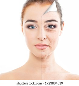 Anti-aging and beauty treatment. Portrait of beautiful woman with old problem and young clean healthy skin, aging and youth concept