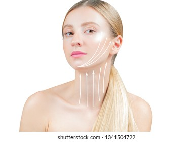 Anti-aging treatment and face lift. Face lifting, beautiful woman with perfect skin with massage lines or arrows on face and neck